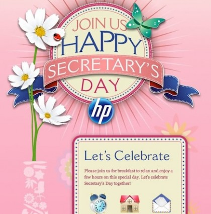 Secretary Day E-vite for HP