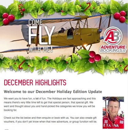 e-Newsletter Product Update for AdventureBookings