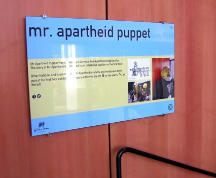 Mr Apartheid Puppet Sign