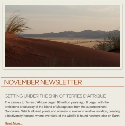 Website and e-Newsletter Product Updates for Terres D'Afrique