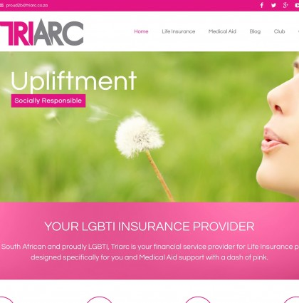 Website for Triarc LGBTI Insurance Provider